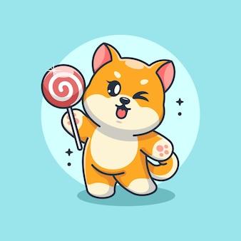 ロリポップ漫画を持ったかわいい柴犬