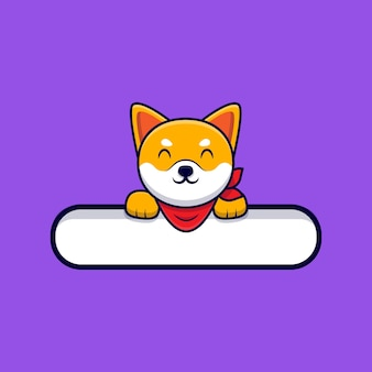 Cute shiba inu dog holding a blank text tag cartoon icon illustration