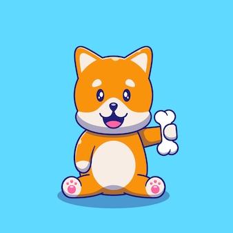 骨のイラストを保持しているかわいい柴犬犬。猫のマスコット漫画のキャラクター動物アイコンの概念が分離されました。