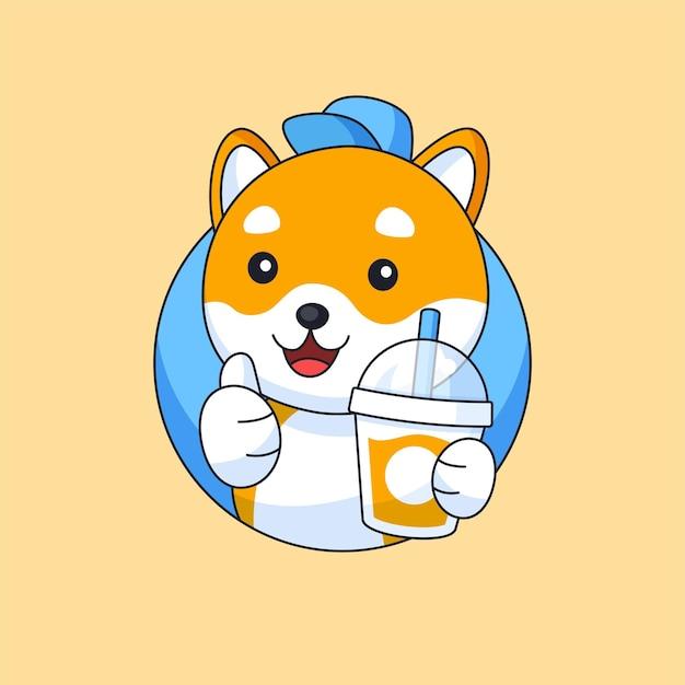 Cute shiba inu dog holding drink bottle for food beverage animal mascot cartoon vector illustration