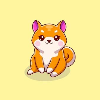 かわいい柴犬の犬が座っている漫画