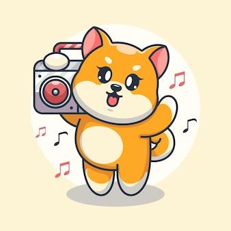 Милая собака шиба ину слушает музыку с мультяшным бумбоксом