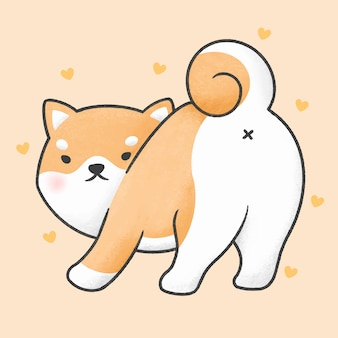 Cute shiba inu dog looking back cartoon hand drawn style