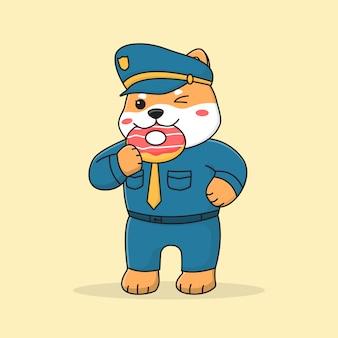 Cute shiba inu dog police eating dessert