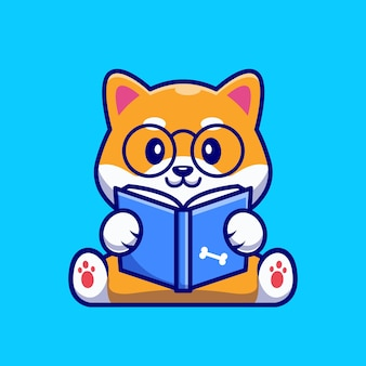 Cute shiba inu dog reading book cartoon