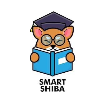 Cute shiba inu dog reading book