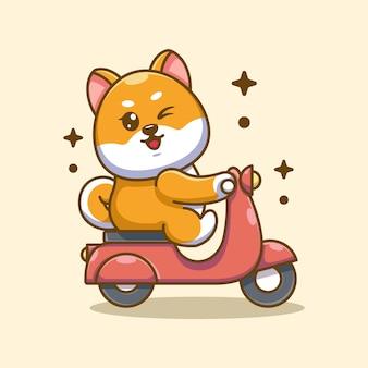 かわいい柴犬犬の乗馬スクーター漫画