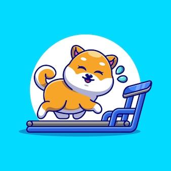 Милая собака шиба ину работает на беговой дорожке мультфильм