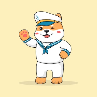 Симпатичный шиба-ину собака моряк