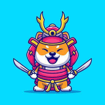 Cute shiba inu dog samurai warrior cartoon illustration.