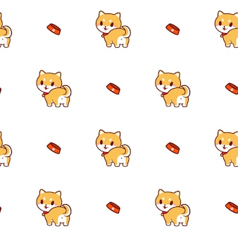 Cute shiba inu dog seamless pattern