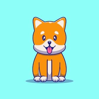 かわいい柴犬の犬の座っているイラスト。猫のマスコット漫画のキャラクター動物アイコンの概念が分離されました。