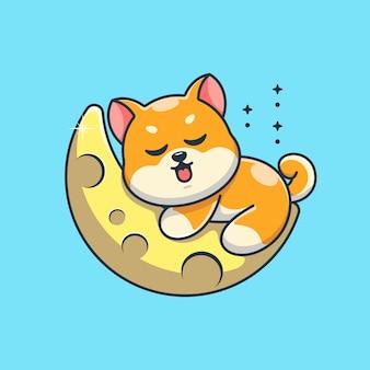 月の漫画で眠っているかわいい柴犬犬