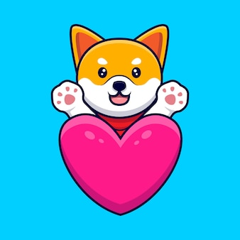 Cute shiba inu dog waving paws behind a big heart cartoon icon illustration