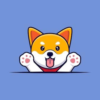 Милая собака шиба ину размахивая лапами мультфильм значок иллюстрации