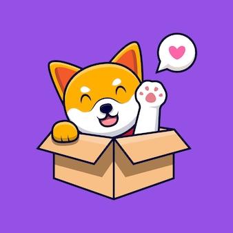 Милая собака сиба-ину машет лапами внутри коробки мультфильм значок иллюстрации