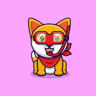 Cute shiba inu dog wearing swimming goggles cartoon icon illustration