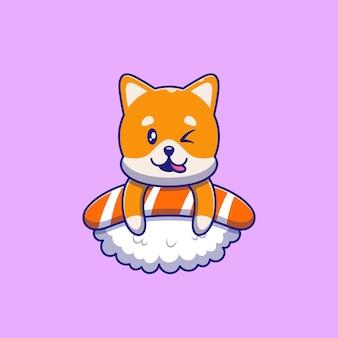 寿司イラストの上にウインクするかわいい柴犬。猫のマスコット漫画のキャラクター動物アイコンの概念が分離されました。