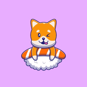 Cute shiba inu dog winking on top of sushi illustration. cat mascot cartoon characters animals icon concept isolated.