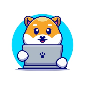 ノートパソコンの漫画のデザインとかわいい柴犬犬