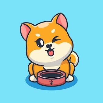 ペット ボウル漫画でかわいい柴犬