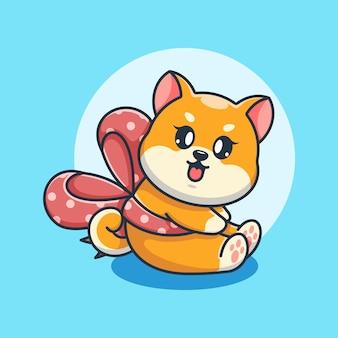 リボン漫画とかわいい柴犬犬
