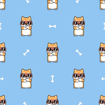 Cute shiba inu dog with sunglasses crossing arms cartoon seamless pattern