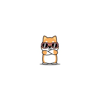 Cute shiba inu dog with sunglasses crossing arms cartoon
