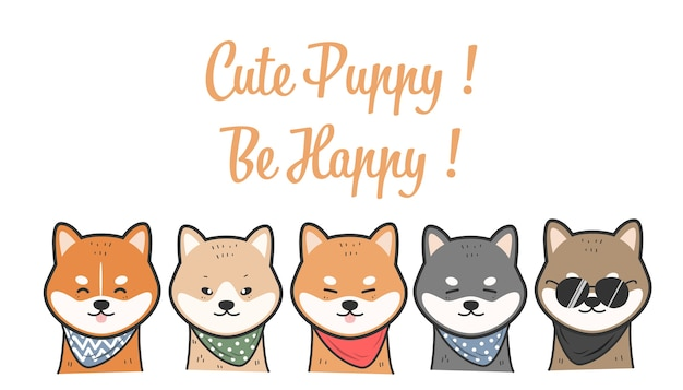 Cute shiba inu dogs smile character cartoon doodle