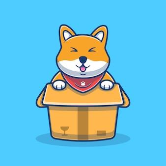 상자 만화 일러스트에서 귀여운 shiba inu입니다. 귀여운 강아지 마스코트 로고. 동물 만화 개념입니다. 동물, 애완 동물 가게, 애완 동물 로고, 제품에 적합한 플랫 만화 스타일.