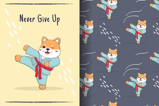 Cute shiba inu martial kick seamless pattern and illustration