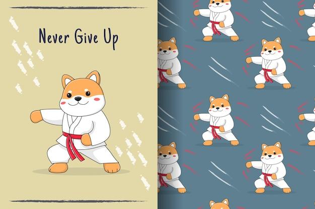かわいい柴犬格闘技のシームレスパターンとイラスト