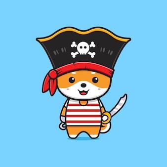 かわいい柴犬海賊漫画アイコンイラスト。孤立したフラット漫画スタイルをデザインする