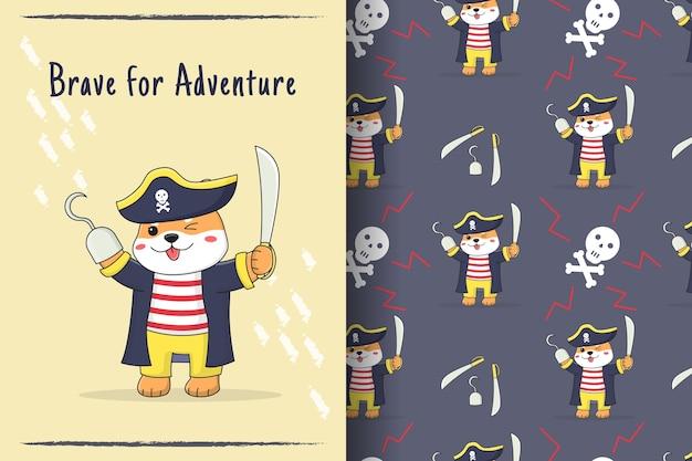 かわいい柴犬海賊のシームレスなパターンとイラスト