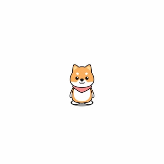 Cute shiba inu puppy cartoon icon