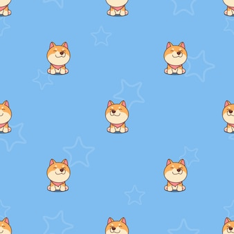 Cute shiba inu puppy sitting and smiling cartoon seamless pattern