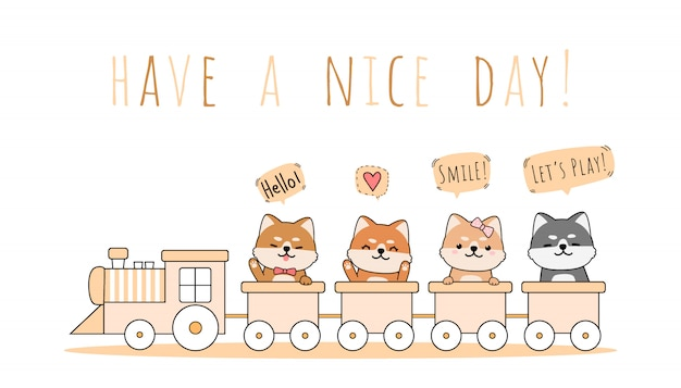 Cute shiba inu riding train greeting cartoon doodle