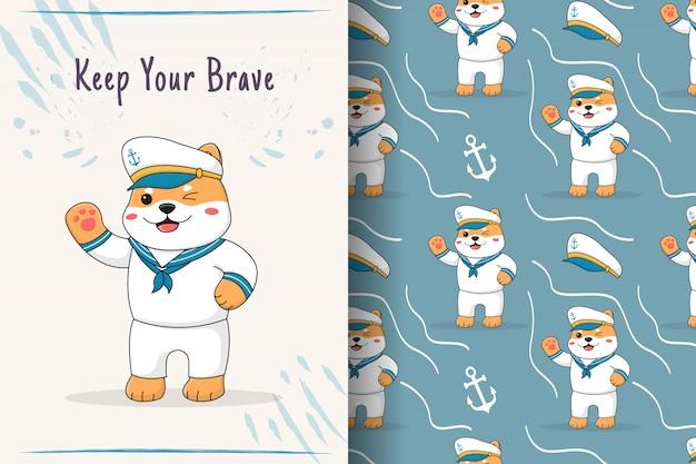 Симпатичные сиба-ину моряк бесшовные модели и карты