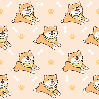 Cute shiba inu seamless pattern background