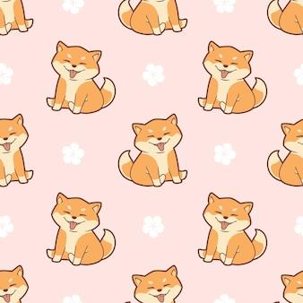 귀여운 시바 이누 원활한 패턴 디자인