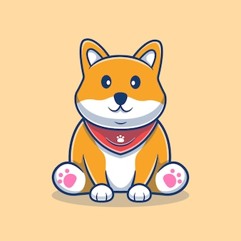 Cute shiba inu sitting cartoon illustration. cute dog mascot logo. animal cartoon concept. flat cartoon style suitable for animal, pet shop, pet logo, product.