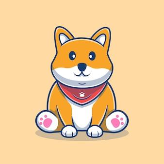 귀여운 shiba inu 앉아 만화 그림입니다. 귀여운 강아지 마스코트 로고. 동물 만화 개념입니다. 동물, 애완 동물 가게, 애완 동물 로고, 제품에 적합한 플랫 만화 스타일.