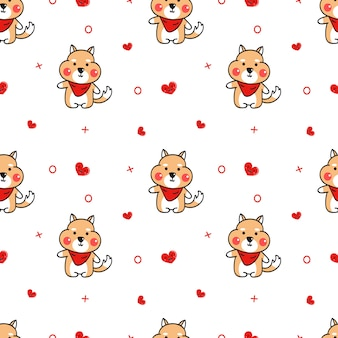 Cute shiba inu and smile heart seamless pattern vector.