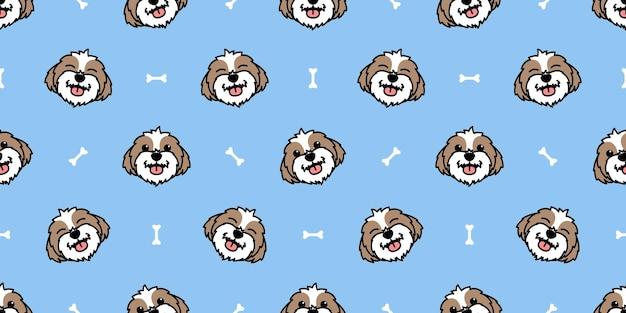 かわいいシー・ズー犬の漫画のシームレスなパターン、ベクトル図