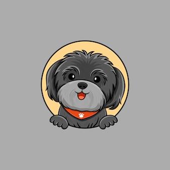 귀여운 shih 손자 강아지 웃는 로고 만화 벡터 아이콘 그림