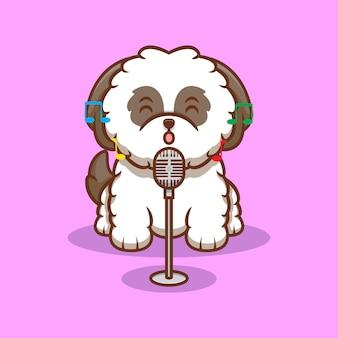 かわいいシーズーの子犬が歌を歌う漫画アイコンイラスト Premiumベクター