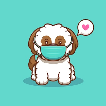 ウイルス漫画アイコンイラストを防ぐためにマスクを身に着けているかわいいシーズーの子犬