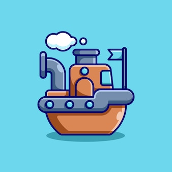 Милый корабль с облачным мультяшным дизайном