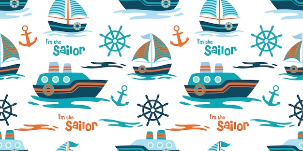 Cute ship and yatch seamless pattern