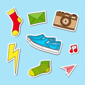 Cute shoes and socks stickers design illustration